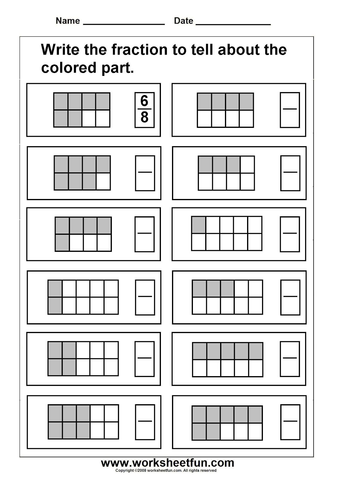 Identify Fractions Worksheet christmas subtraction with regrouping – Worksheets on Fractions