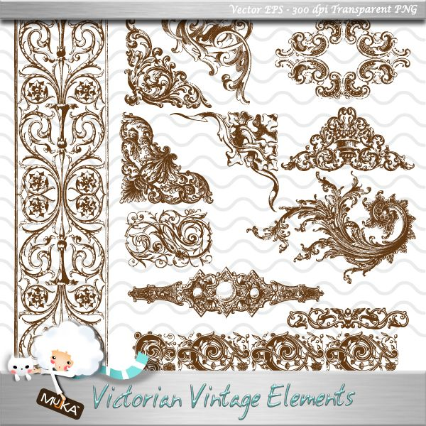 Mujka Victorian Vintage Design Elements Detailed vintage corner designs,  borders and elements Great for Vintage
