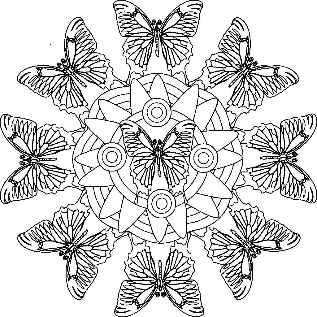 Mandalas Butterflies The Beauty coloring picture for kids | kamya ...