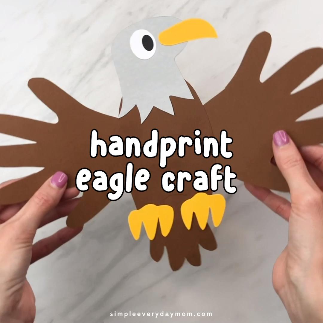 Eagle Handprint Craft For Kids  #animalcrafts