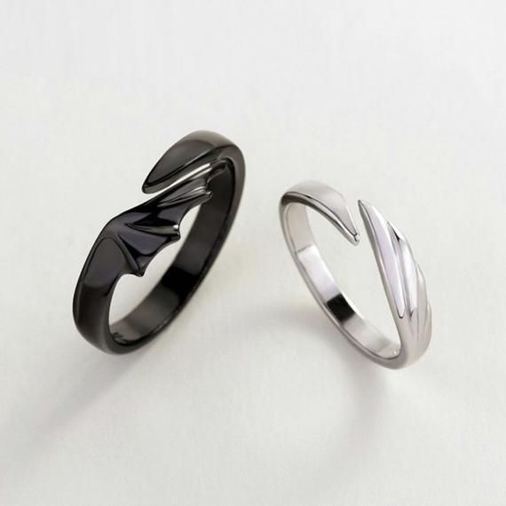 Silvology 925 Sterling Silver Angel And Devil Couple Rings Original Creative Texture Romantic Rings For Lovers Festival Jewelry - Ziloqa