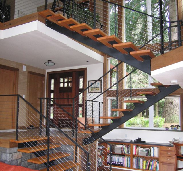Stair Designs Railings Jam Stairs Amp Railing Designs: Myeln's Open Flight Mono Stringer Staircases Save Space