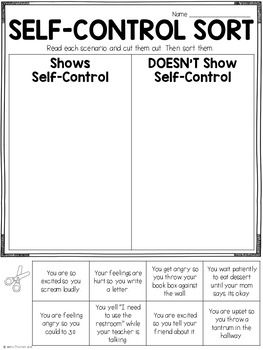 Character Education: Self Control Lesson and Printables ...