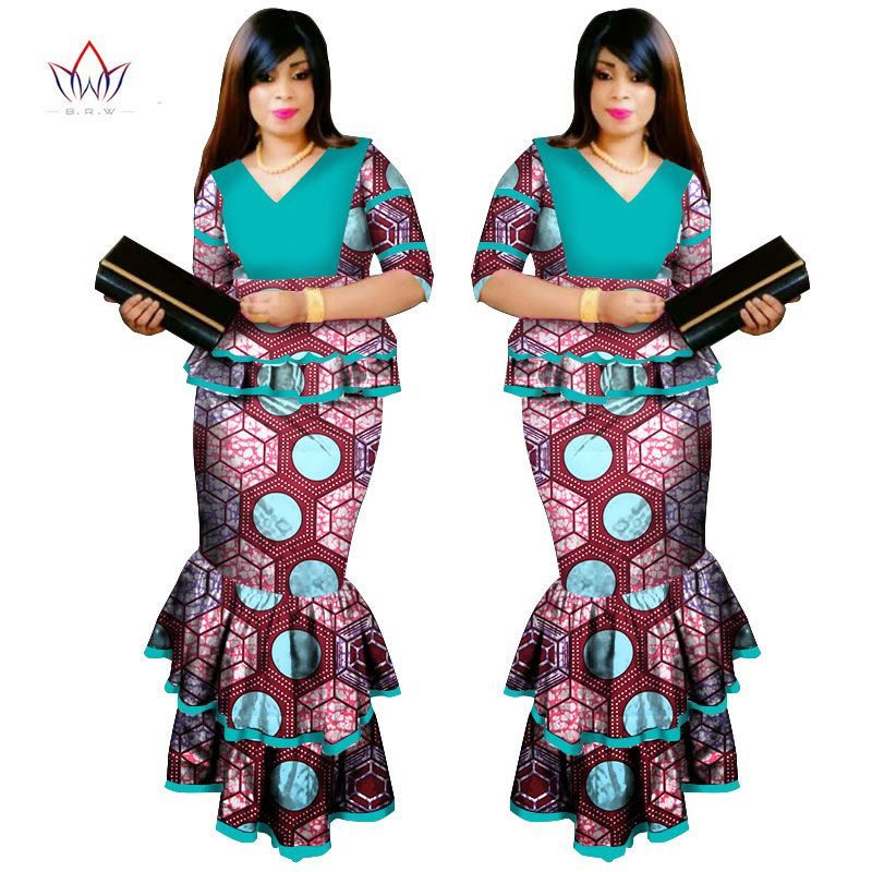496c884255 2017 Summer African Dashiki for Woman Ruffle Top and mermaid Skirt set Bazin  Riche robe Femme Plus Size evening Dress WY1086
