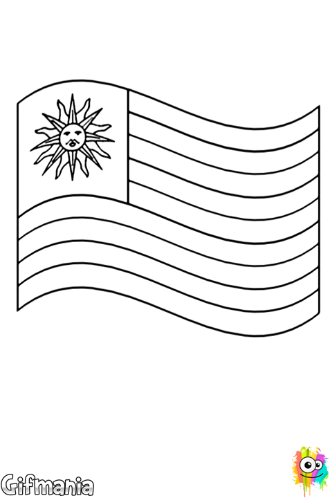 Discover the Flag of Uruguay with this coloring page. #flag #Uruguay ...