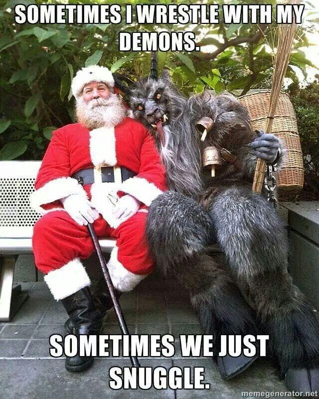 Santa Demons Evil Cuddle Happy Fight Snuggle Christmas Memes Funny Funny Merry Christmas Memes Christmas Memes