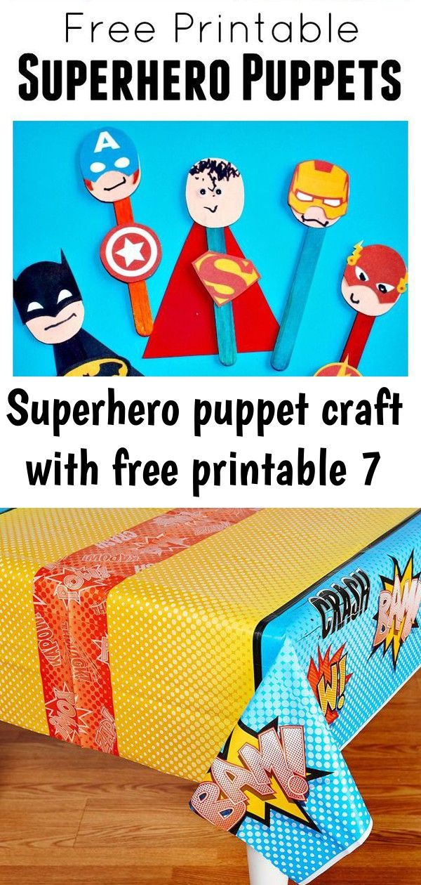 Superhero puppet craft with free printable 7