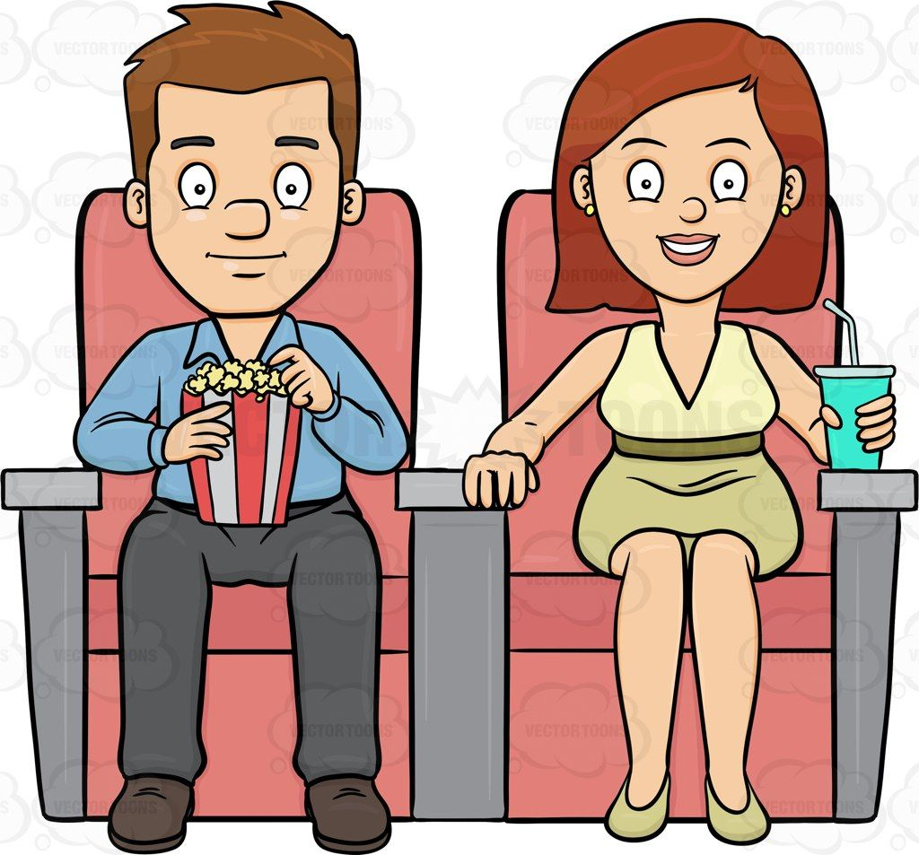 a couple watching a romantic film in a theater vector clipart rh pinterest co uk  watching horror movie clipart