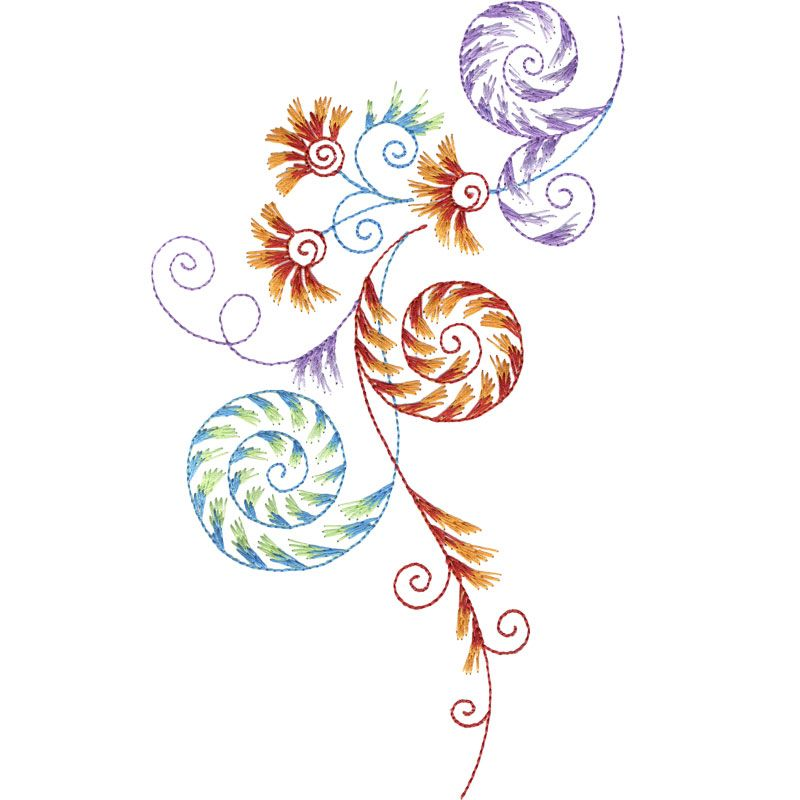 Large quirky swirls flowers embroidery borders corners