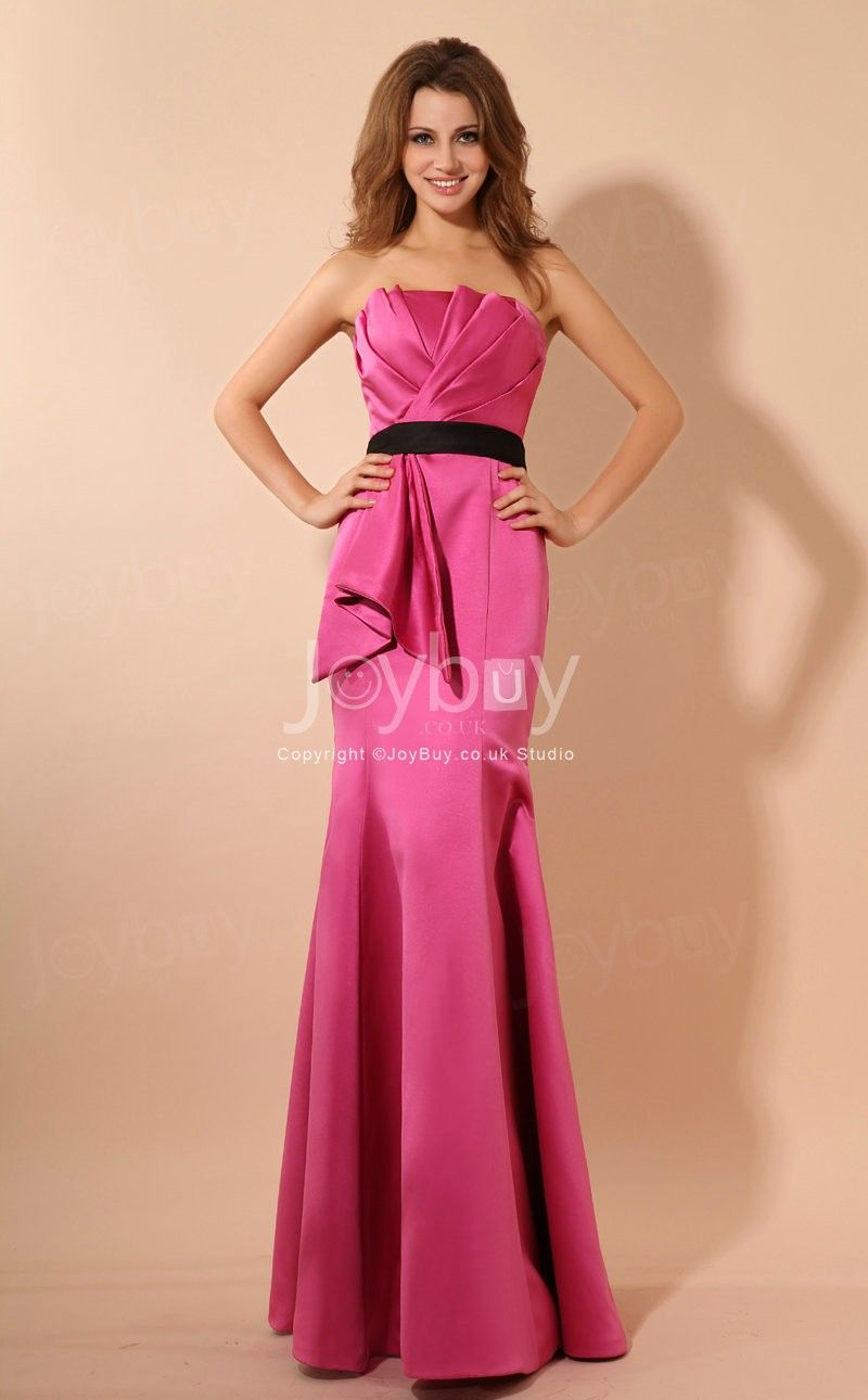Strapless Ruched Bodice Perfect Looking Fuschia Evening Gown £127.49 ...
