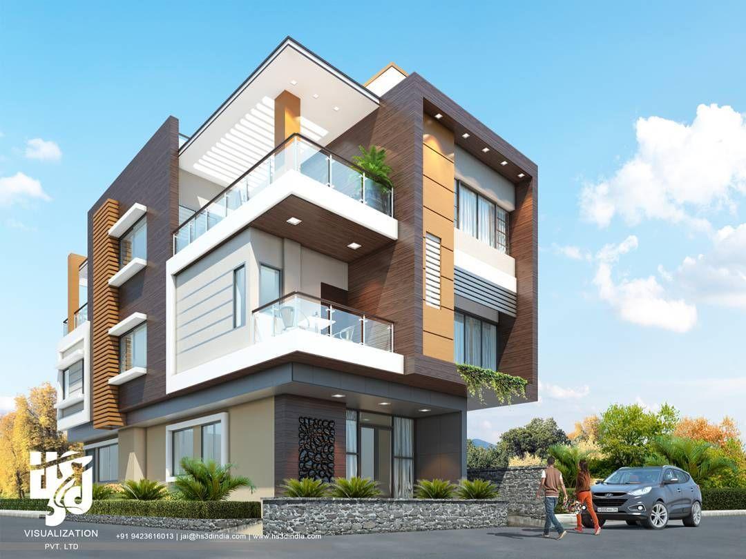 Modernvilla exteriordesigns drender day view by hsdindia