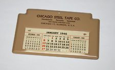 Calendario 1946.Cinta De Acero Vintage Chicago Co Publicidad Calendario