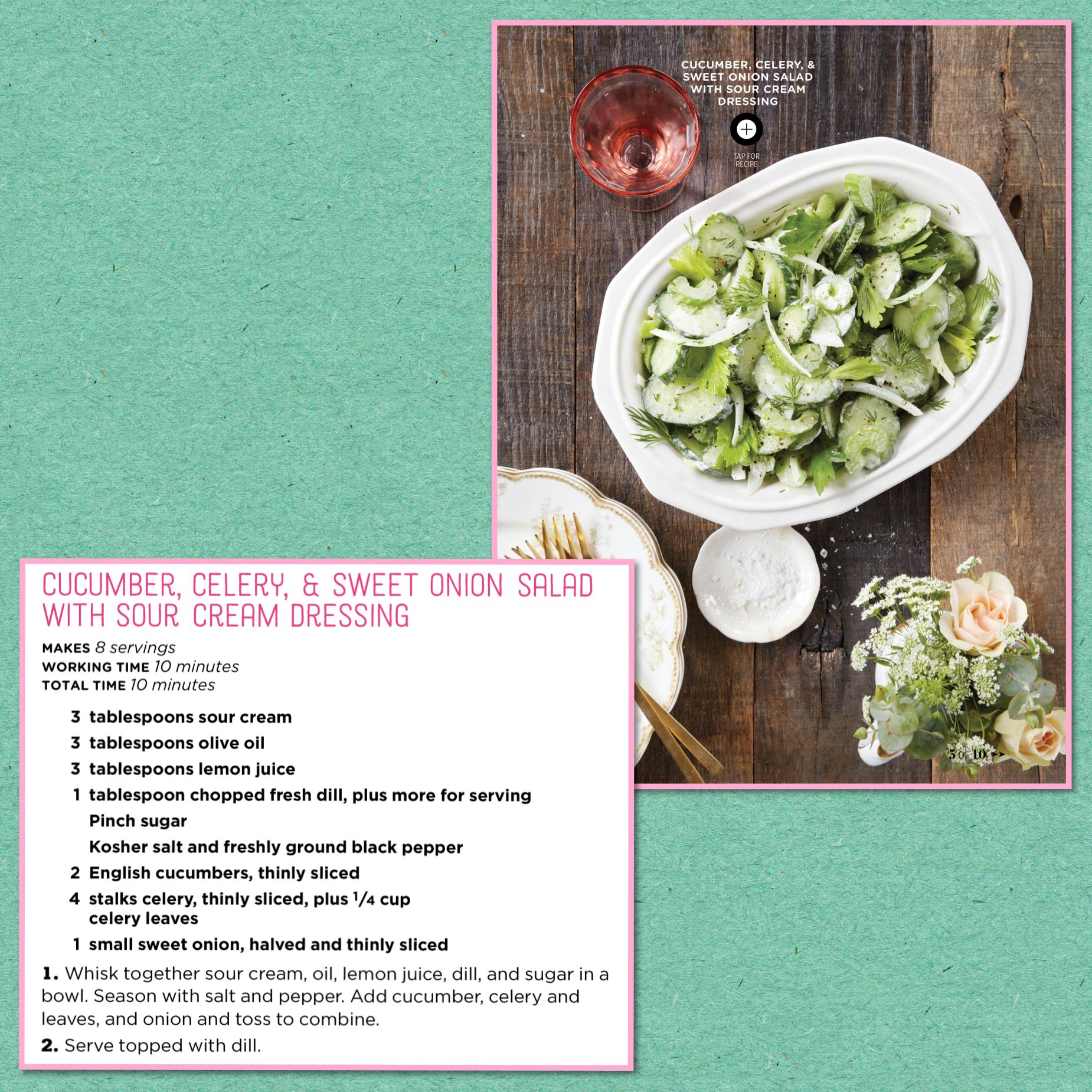 Cucumber Celery And Sweet Onion Salad With Sour Cream Dressing Recipe Onion Salad Sweet Onion Healthy Salad Recipes