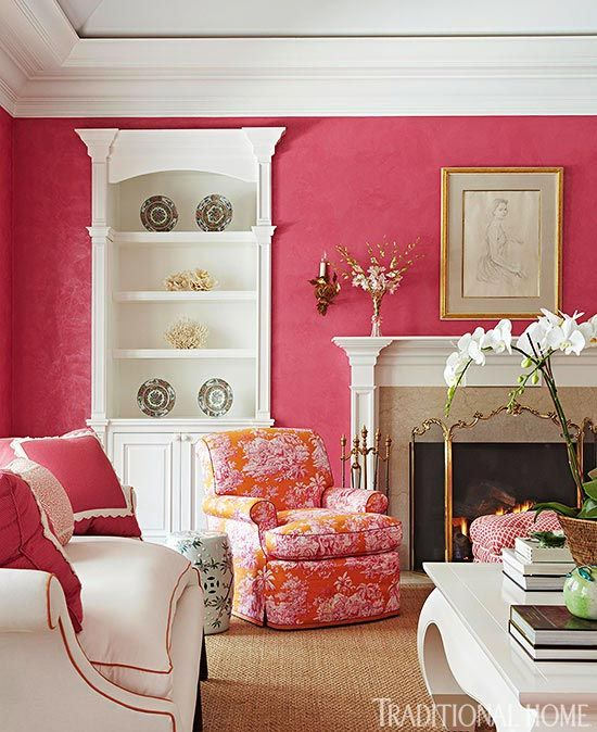 Classic molding on the mantel is mimicked on the shelves; both are ...