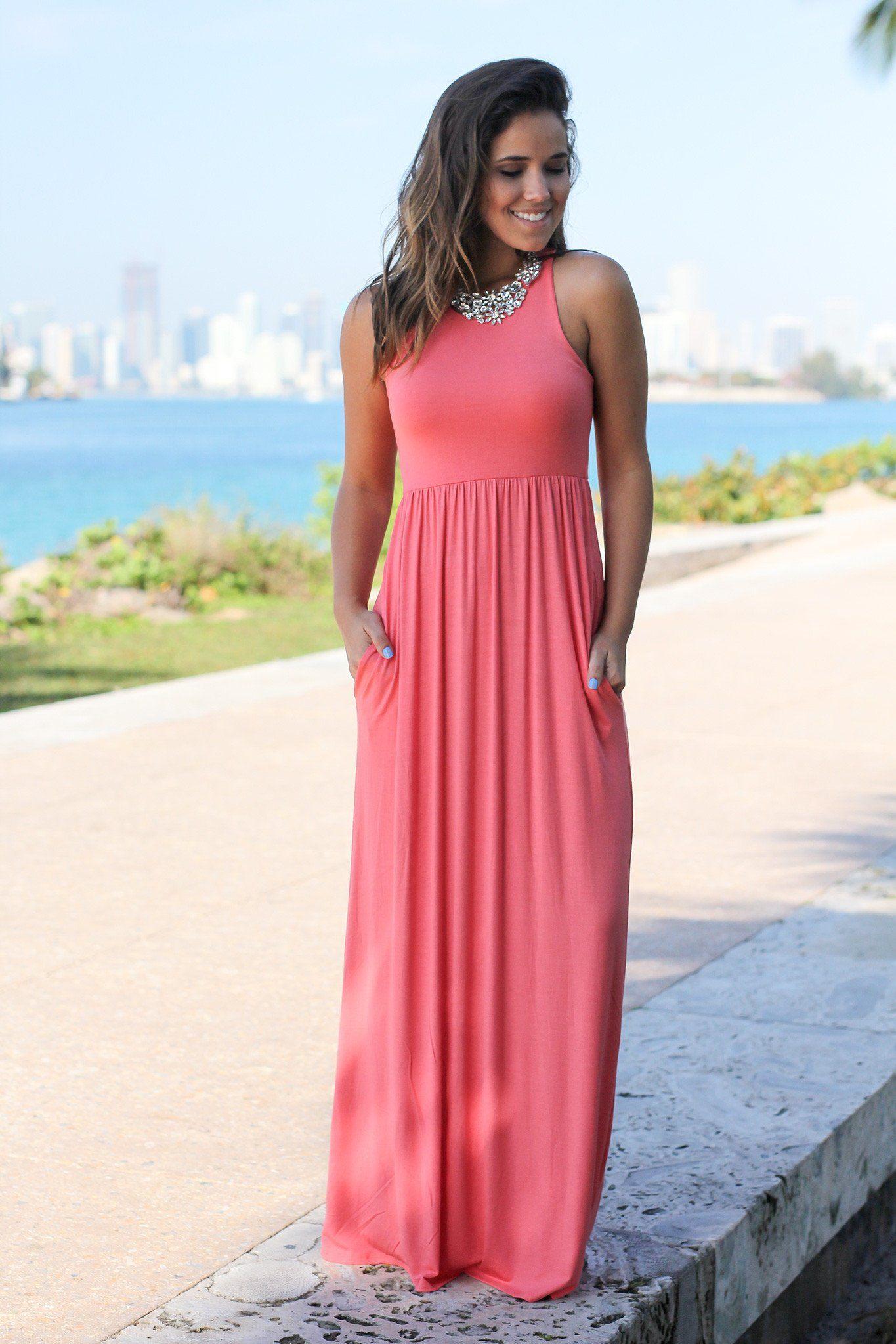 Maxi dress, Coral maxi dresses