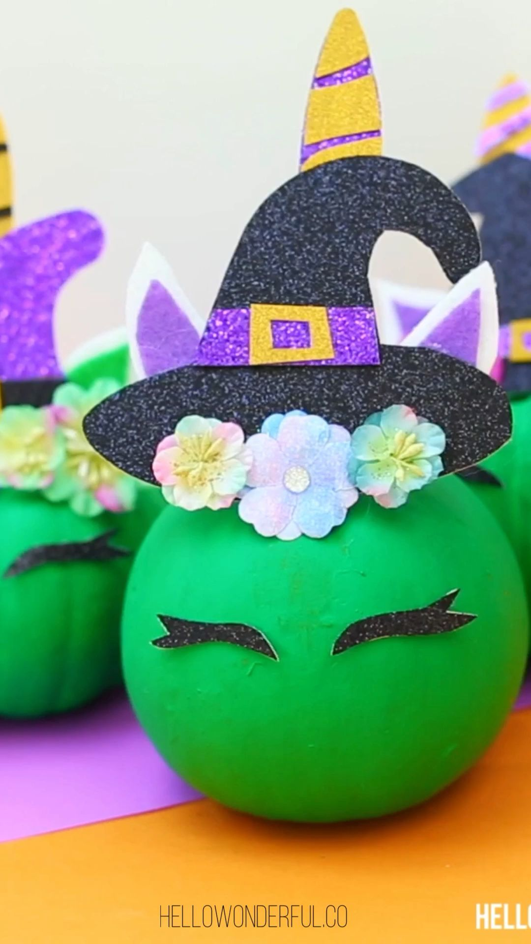 DIY Unicorn Pumpkin Witch - Unicorn pumpkin, Halloween toilet paper roll crafts, Pumpkin crafts, Unicorn crafts, Crafts, Diy garland paper - This DIY Pumpkin Unicorn Witch brings big magic to Halloween and is a fun nocarve pumpkin decorating idea!