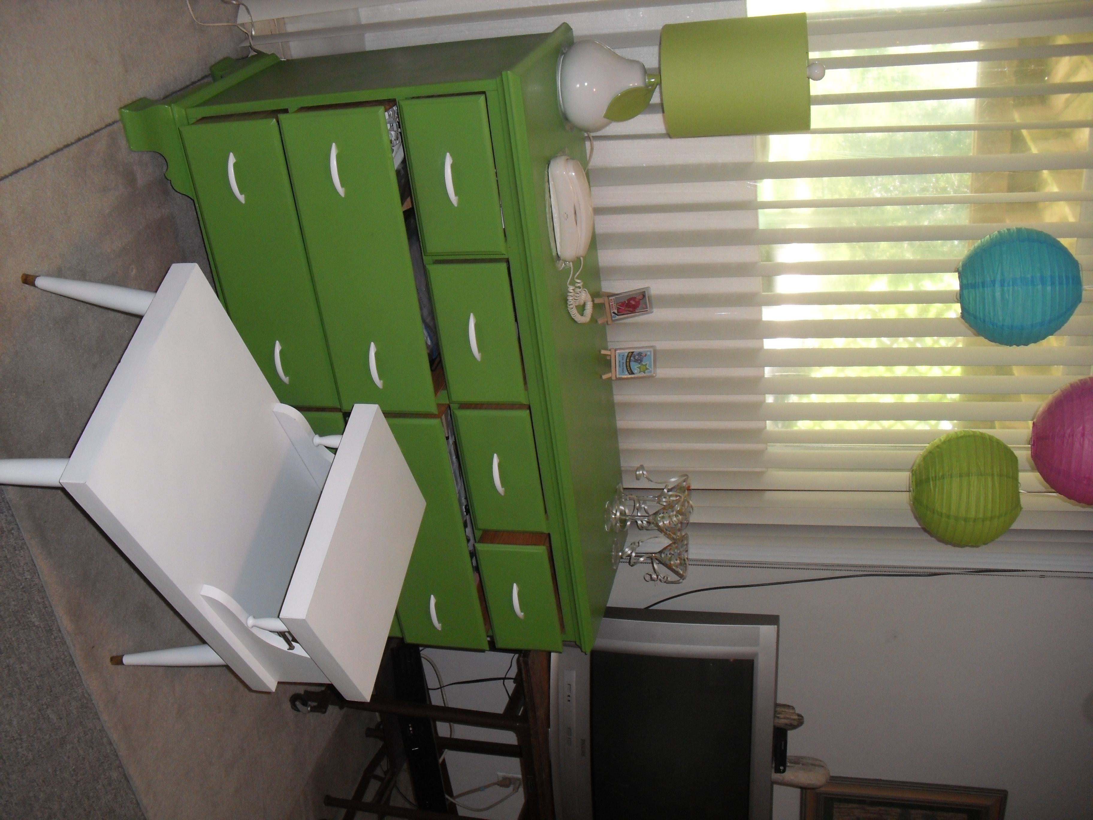 used Valspar spray paint for the green dresser.  Love the color!!