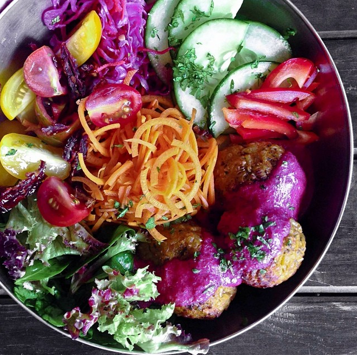 """from lonijane on instagram: """"I eat rainbows. Brown rice and sweet potato balls with a beetroot coconut sauce! Accompanied by an epic salad."""""""