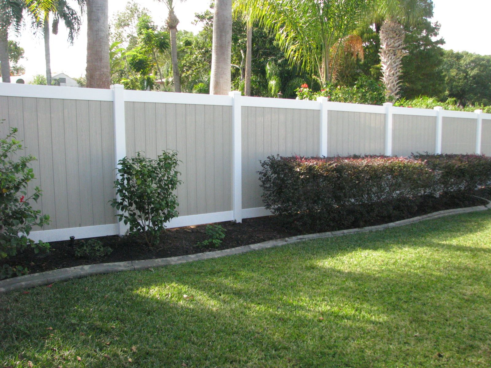 Custom two tone pvc privacy fence mossy oak fence company find this pin and more on pvc vinyl fence designs custom baanklon Gallery