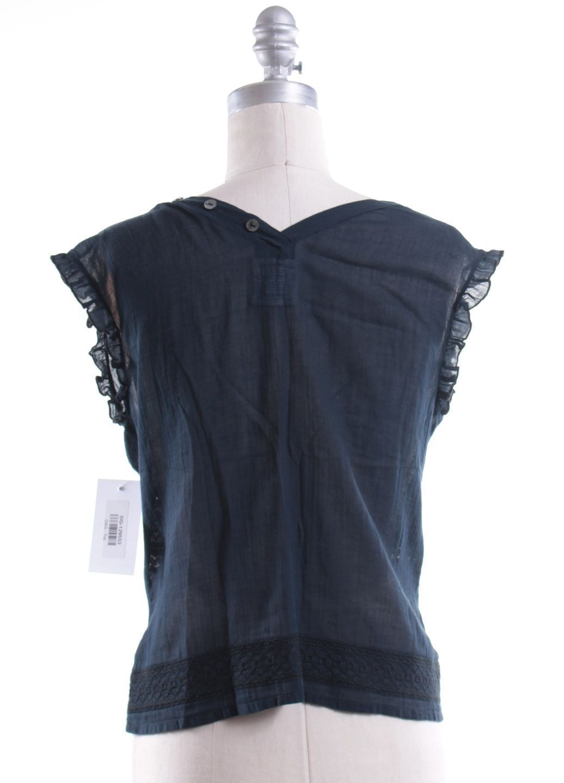 D G Navy Blue Black Embroidered Button Up Cotton Blouse Sz It 40 US 4 | eBay