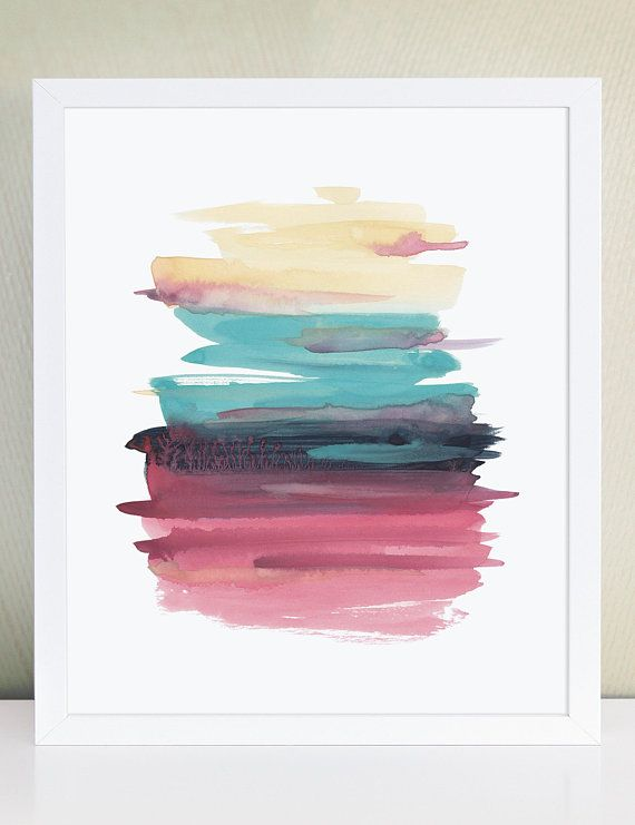 Brush Stroke Abstract Watercolor Art Print Modern Minimalist