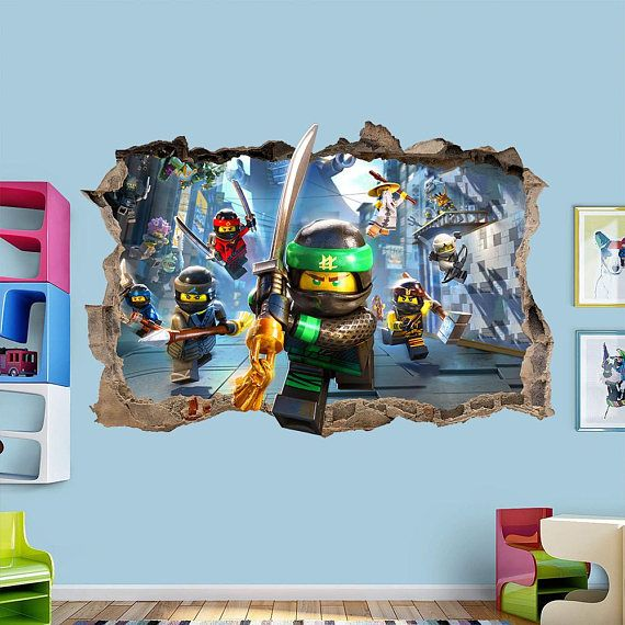 lego ninjago smashed 3d wall sticker decal art mural | wall decals