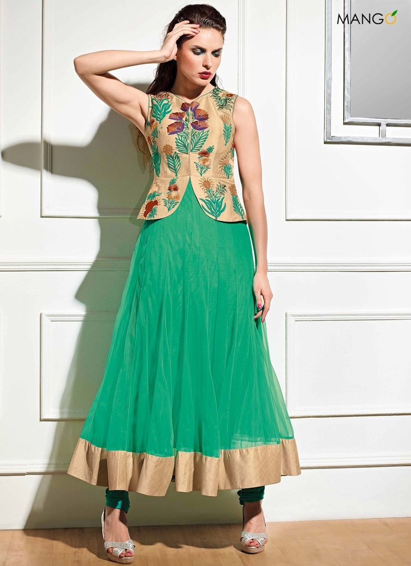 GLOSSY GREEN GEORGETTE RAW SILK ANARKALI SUIT CODE:-8167 PRICE ...