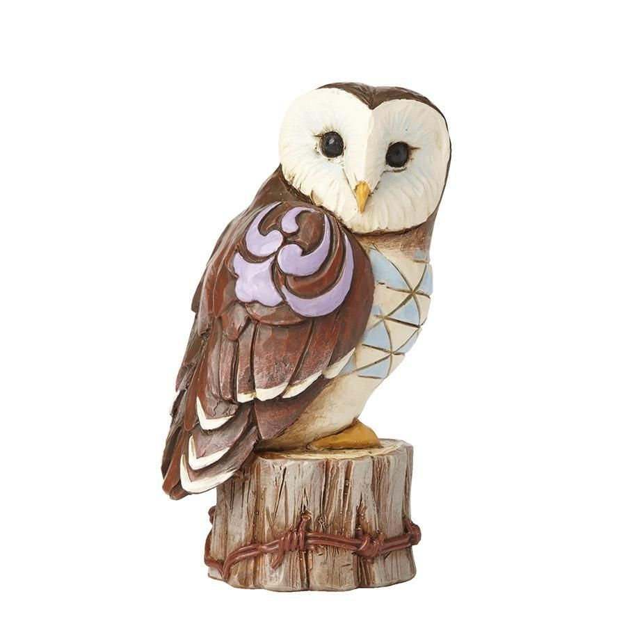 Hand Carved Wooden Painted Barn Owl on a Tree Stump Garden Ornament Bird Carving