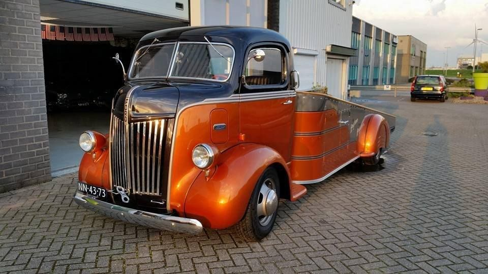 Angled car hauler built from a vintage coe truck with