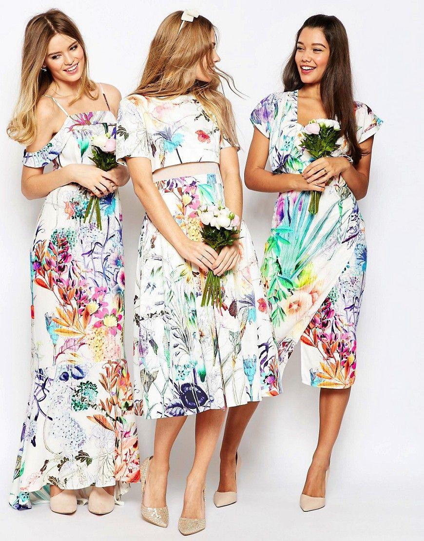 f92ef7433b3a Image 3 of ASOS WEDDING Crop Top Midi Prom Dress In Floral Print