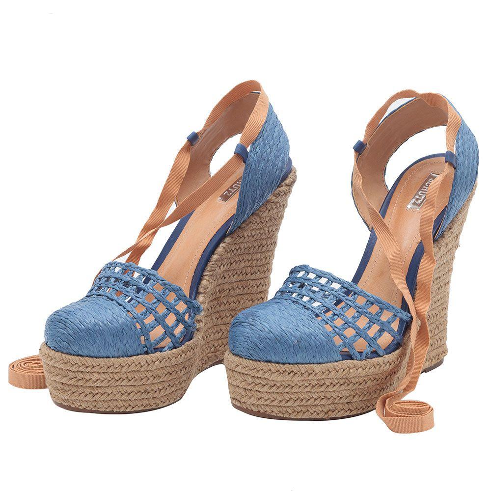 6d16676a4b SCHUTZ - Sandália anabela ráfia - azul