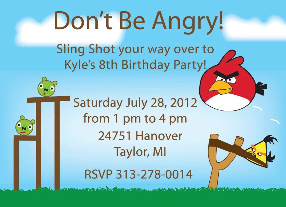 Angry Bird Birthday Invitation Printable – Angry Birds Party Invitations