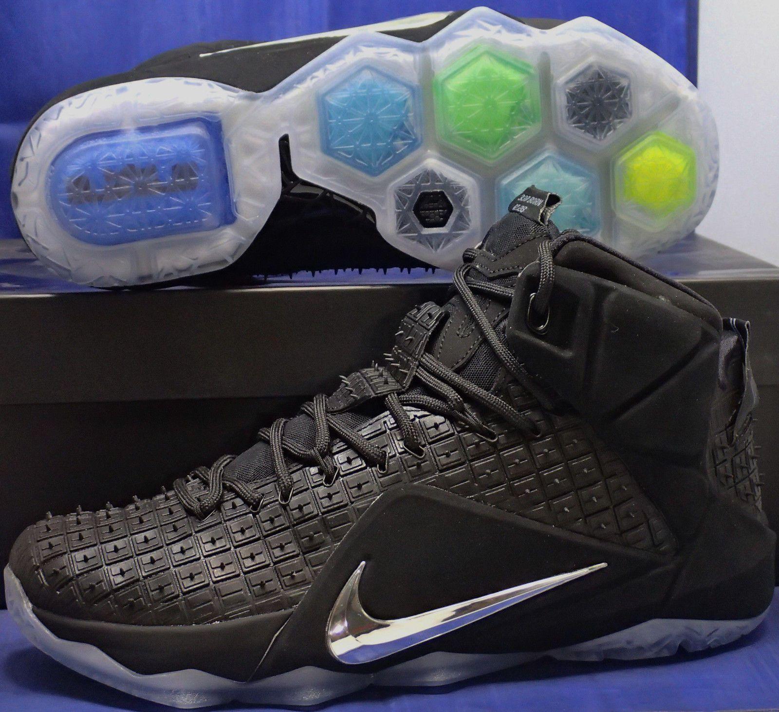 check out 6992b 8872b Nike Lebron XII 12 EXT Rubber City QS Black Chrome RC SZ 9 ( 768829-
