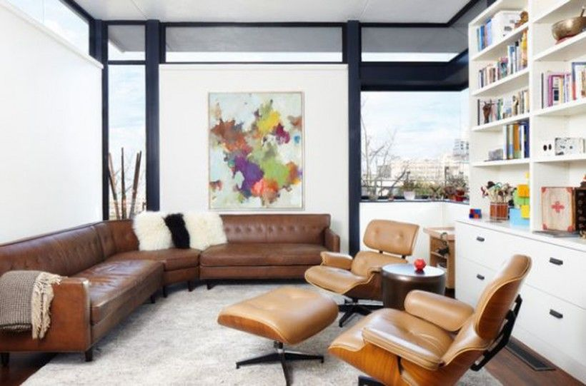 Living Room Contemporary Design White Fur Cushions Couch And Seating Leather Eames Lounge