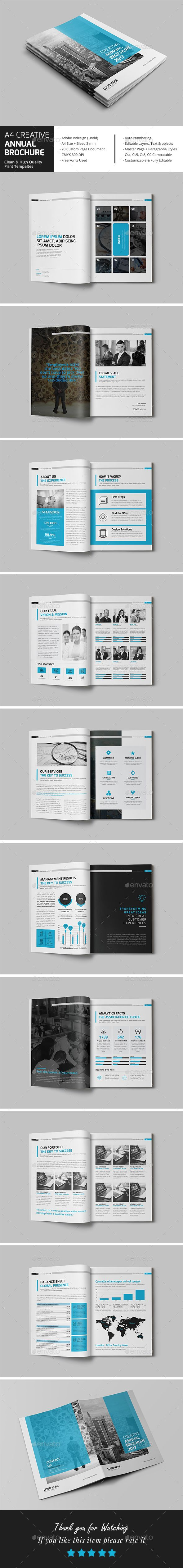 A4 Creative Annual Brochure Template InDesign INDD | Brochure ...