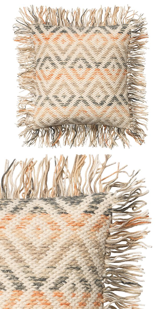 Brighten up your seating with a sunny design. This bright wool and cotton pillow steals the spotlight with its vibrant print and fringed ends. Dry clean only. Made in India.  Find the Maebry Pillow, as seen in the Rustic Minimalism In Portugal  Collection at http://dotandbo.com/collections/rustic-minimalism-in-portugal?utm_source=pinterest&utm_medium=organic&db_sku=122766