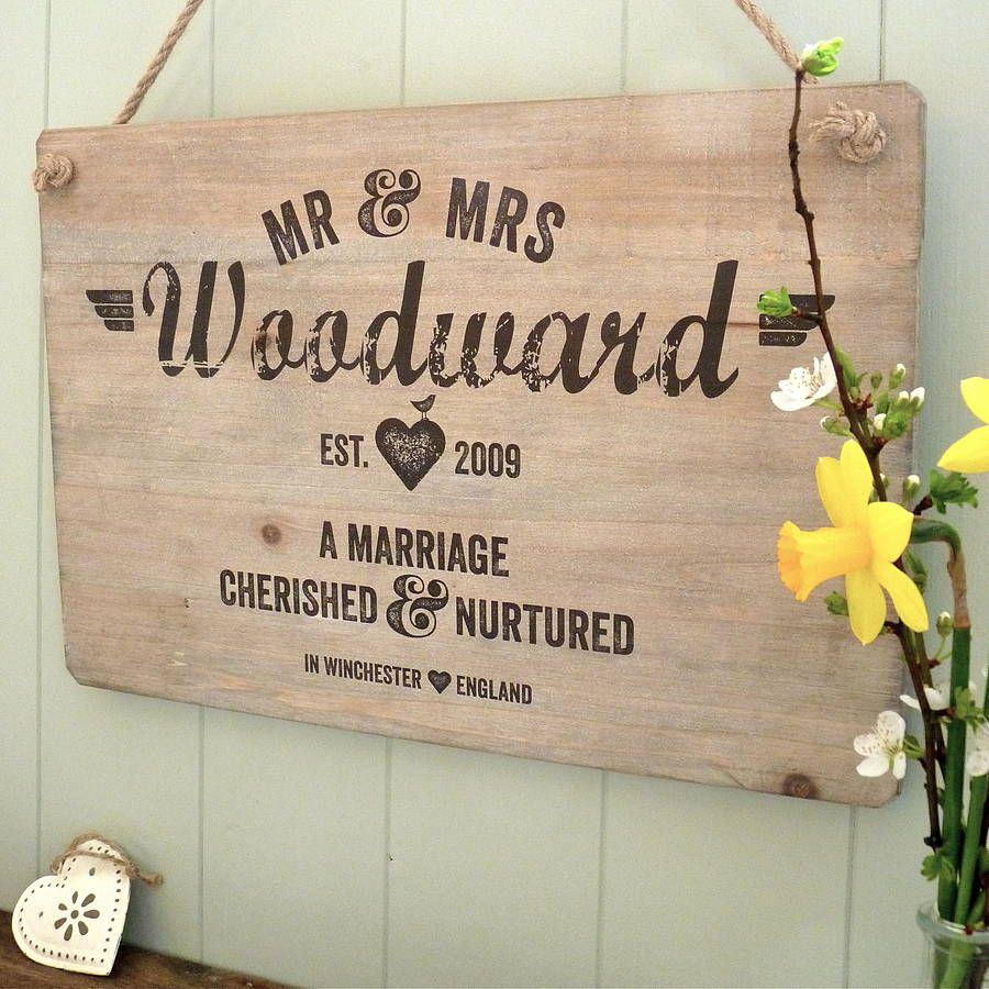 personalised letterpress style wedding sign by delightful living | notonthehighstreet.com