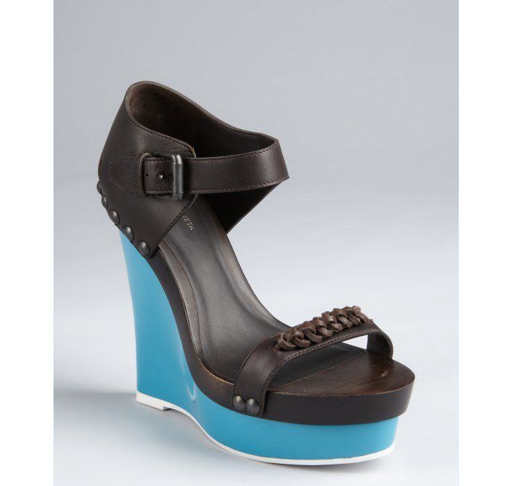 a41bea037fcb Bottega Veneta - Black Espresso Leather And Rubber Platform Wedge Sandals -  Lyst
