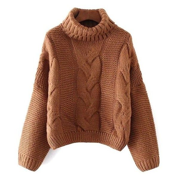 Oversized Turtle Neck Cable Knit Sweater ($30) ❤ liked on