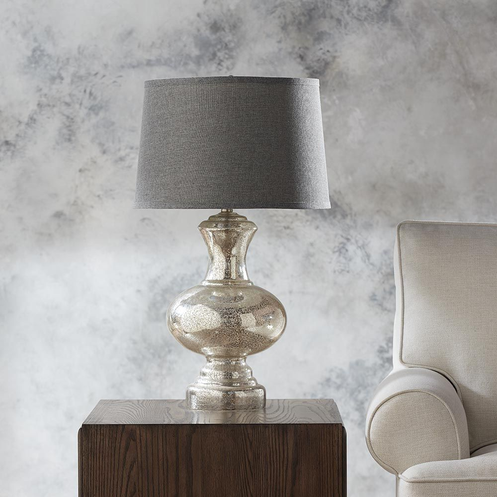 Leda Table Lamp, Bassett Furniture Torrance CA, Shapely Mercury Glass Base  Is Paired With A Heathered Black And Gray Woven Drum Shade.