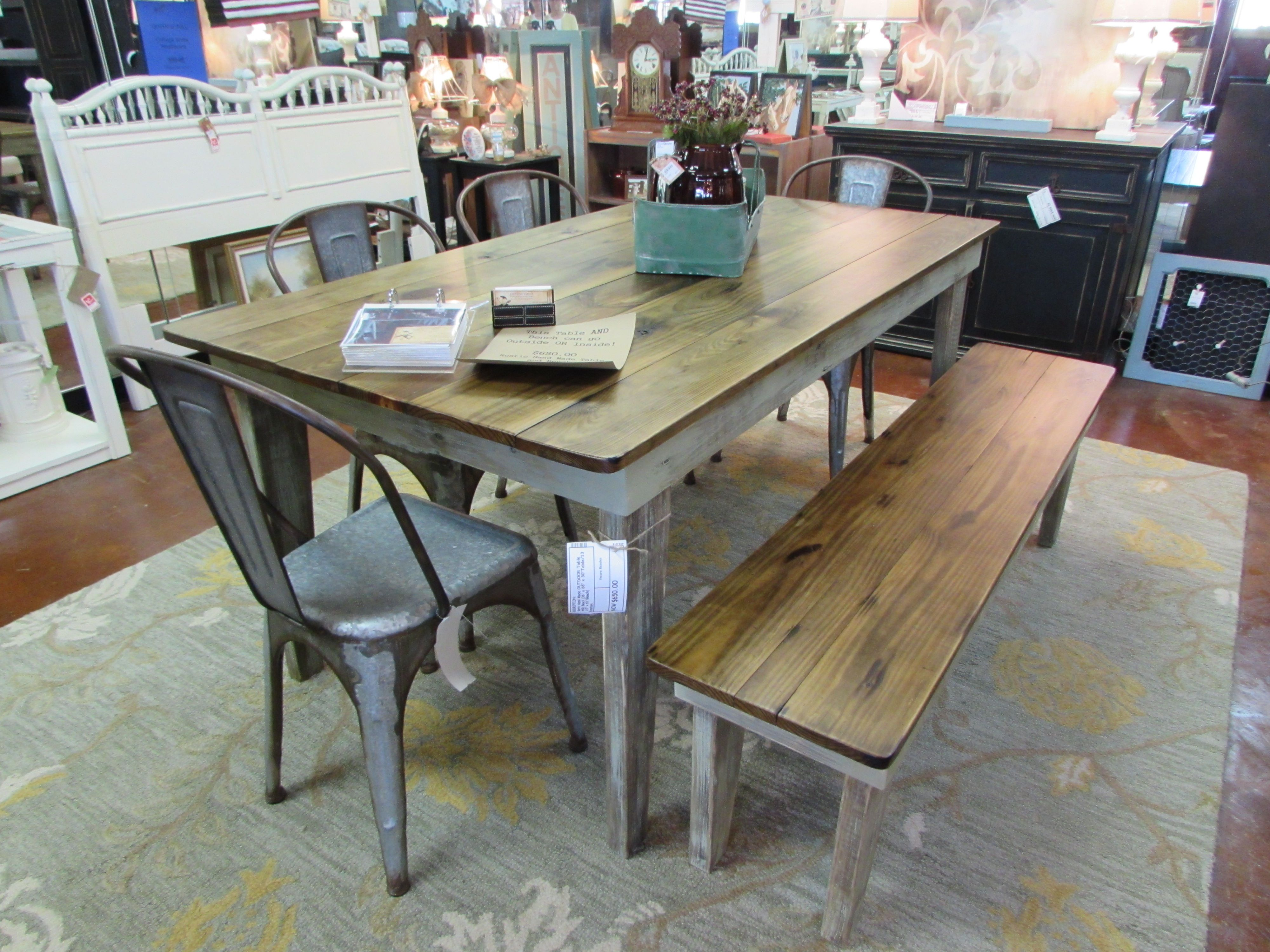 rustic table with bench Google Search Farmhouse table