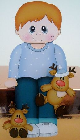 3D On the Shelf Card Kit - Christmas Cute Little Toddler with Little Rudy - Photo by Pam Stubley