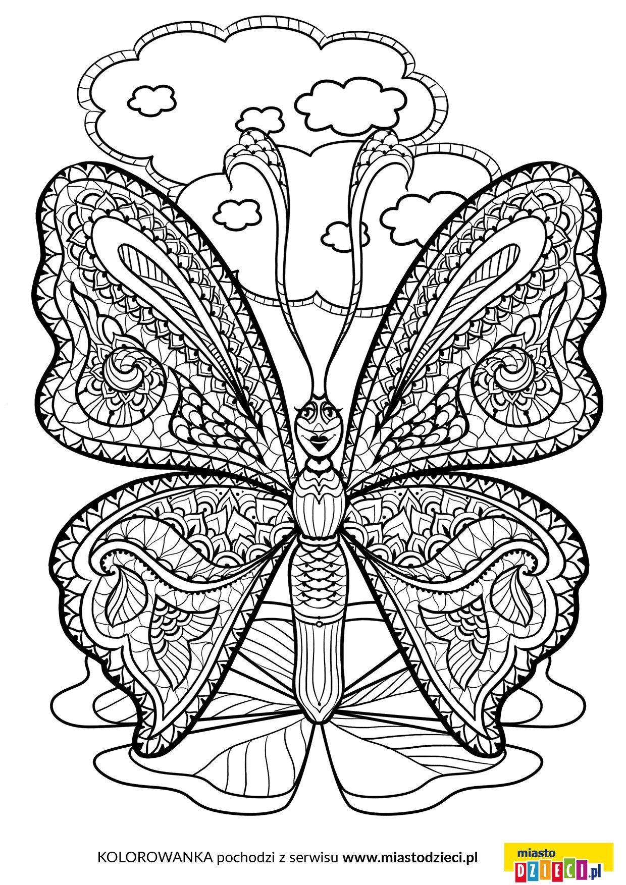 Kolorowanki Antystresowe Motyl Jpg 1240 1754 Mandala Floral Color
