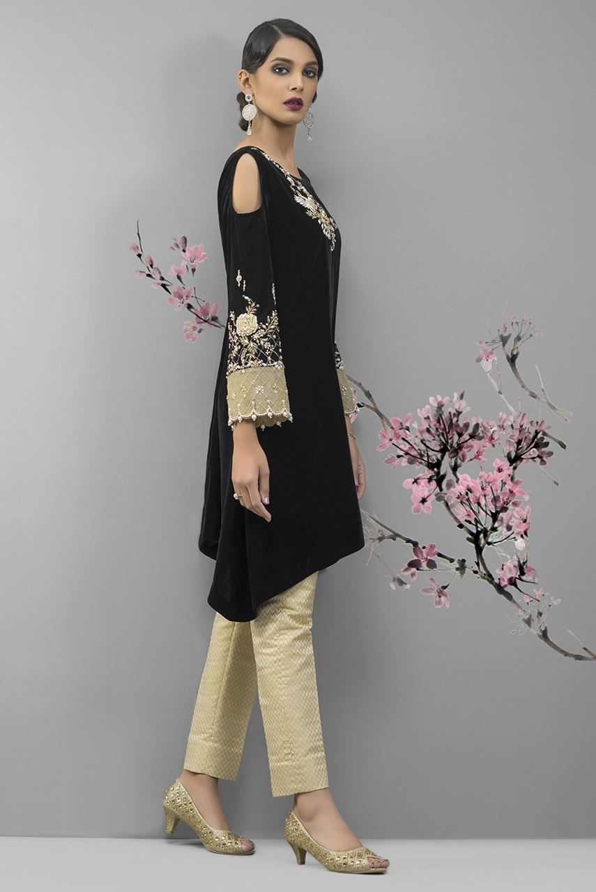 Buy this elegant black ready to wear embroidered dressby Deepak