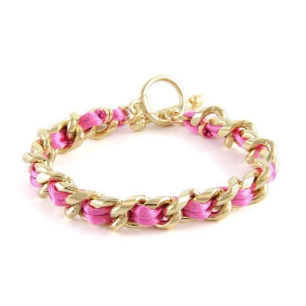 Pink Satin Cord Intertwined Chain Bracelet with Toggle Closure