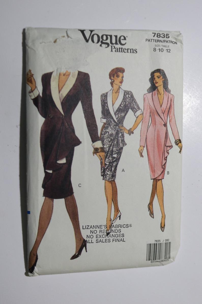 Vogue 7835 Misses Dress Sewing Pattern Uncut Size 8 10 12 Dress Sewing Pattern Miss Dress Sewing Dresses [ 1191 x 794 Pixel ]