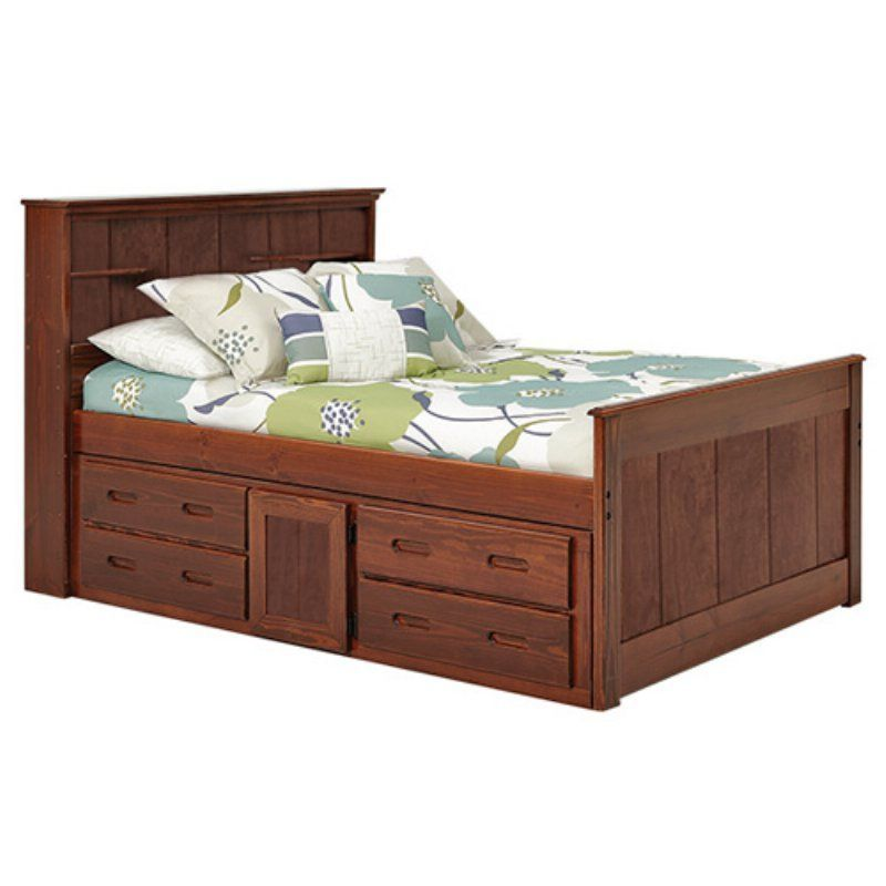 Woodcrest Heartland Twin Bookcase Captains Bed with Underbed Storage - XBK1350 RSL