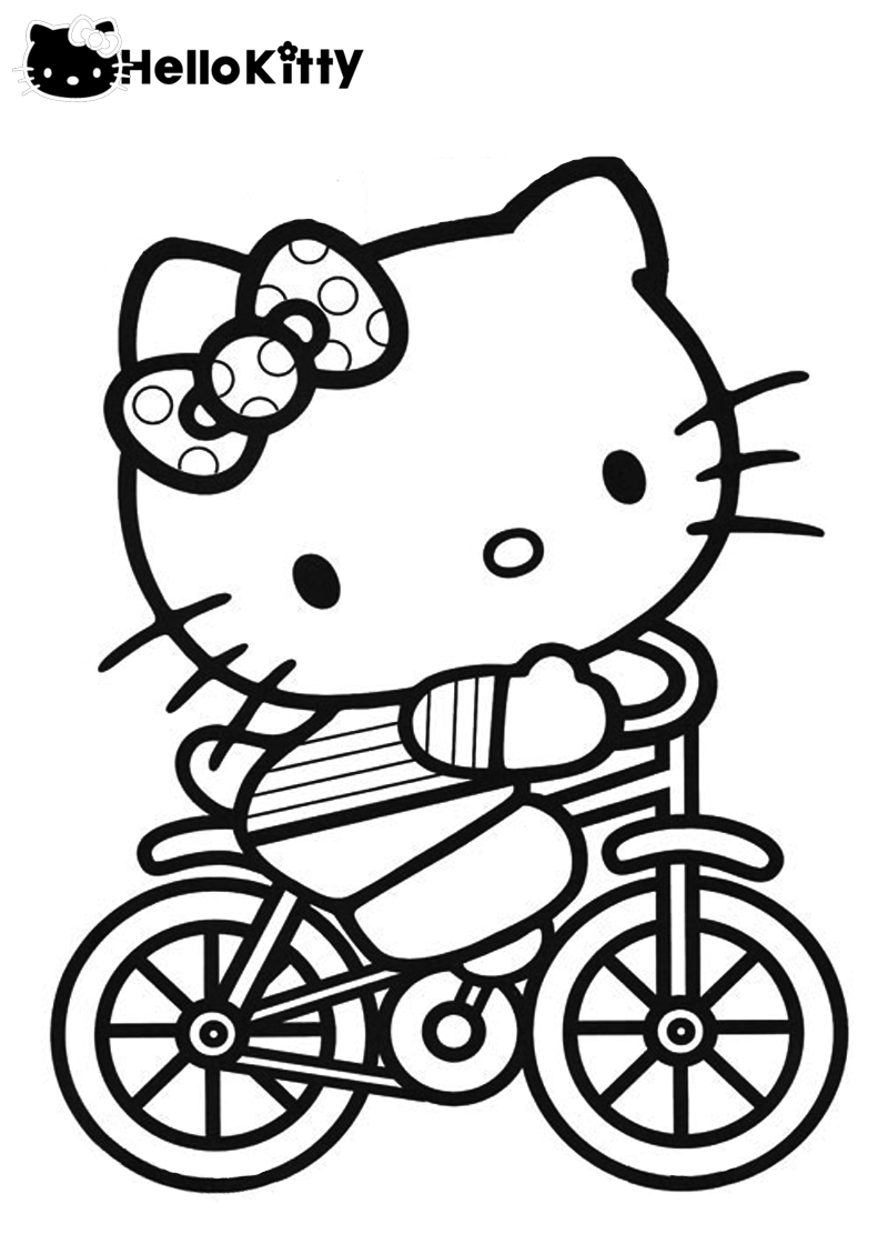 Hello Kitty Riding Bicycle Hello Kitty Colouring Pages Kitty Coloring Hello Kitty Coloring