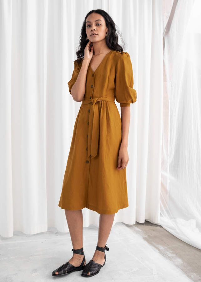 fdea4435c5f And other stories Belted Linen Blend Midi Dress