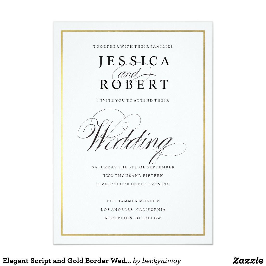 Elegant Script And Gold Border Wedding Invitation Wedding